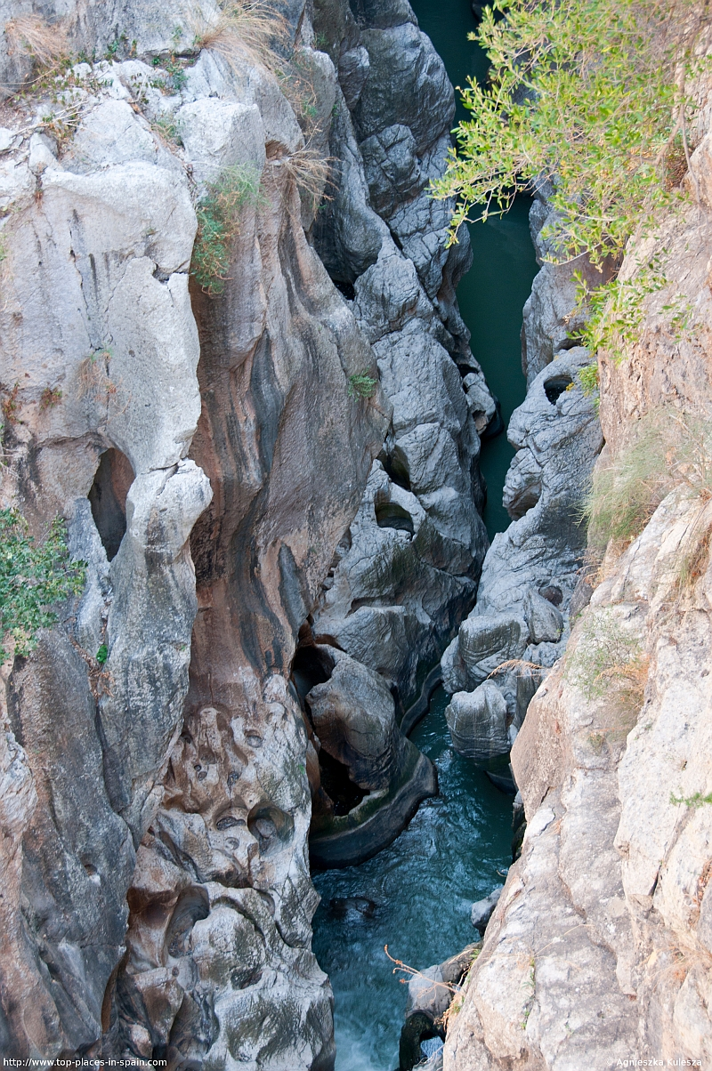 The Guadalhorce river deep down in the El Chorro canyon