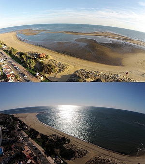 Tides in Spain - Isla Canela - before and after the tide